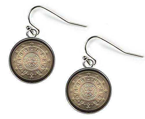 Xubu - Pendientes de botón de Plata de 50 Euros, diseño de Moneda de Portugal