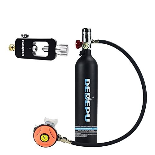 Botella de buceo Equipo de buceo de respiración bajo el agua de snorkeling 1L Juego de cilindros de oxígeno Juego de cilindros de buceo Bolso adaptador de recarga del respirador Equipo de buceo, cilin