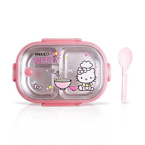 Finex Hello Kitty Chef Bento-Box, Edelstahl, transparenter Deckel und Löffel, Pink