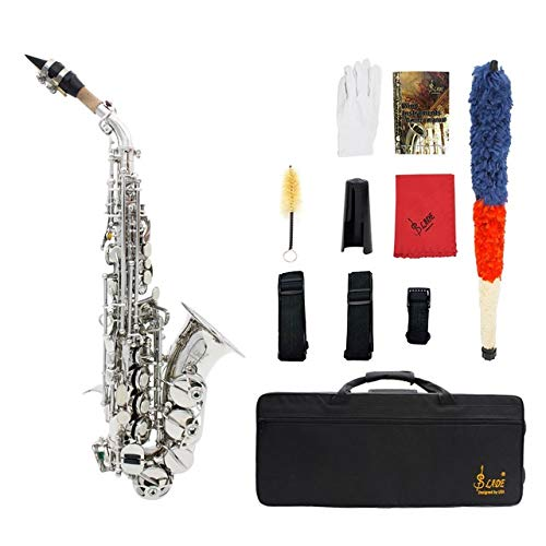 ZHNA-Saxophon Bb Sopransaxophon B-Dur, Althorn Sopran Saxophon Sax Musikinstrument mit Handschuh, Reinigungstuch Gurtreinigungsbürste (Color : Silver)