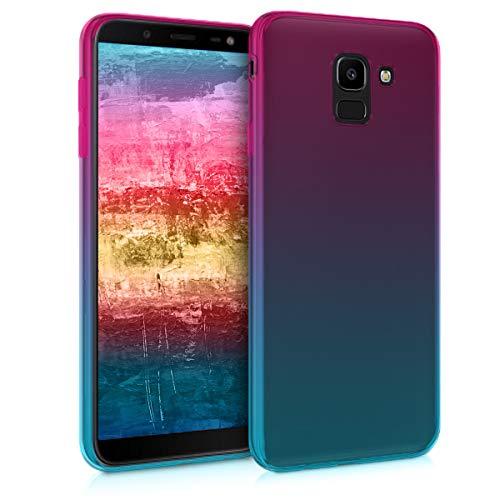kwmobile Étui de Protection Compatible avec Samsung Galaxy J6 - Coque Souple en Gel Silicone - Dégradé Transparent - Tons Pastel Fuchsia-Bleu-Transparent