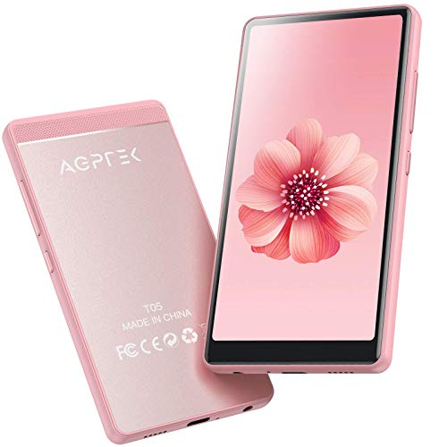 WiFi MP4 Player mit 4\'\' Touchscreen, AGPTEK HD Videoplayer mit Android 6,0 für UKW-Radio, Online-Funktionen usw, Bluetooth 4.0 Musik Player 1GB RAM, 8GB ROM, mit 32GB TF-Karte, 1000mAh Akku, Pink