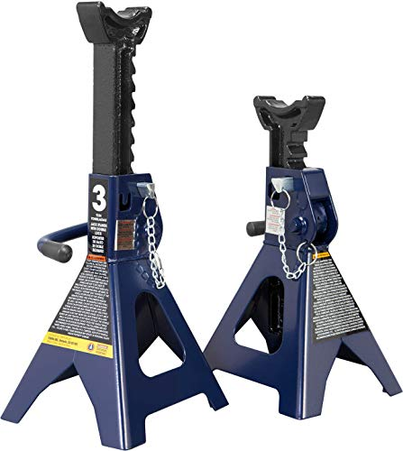 TCE AT43002AU Torin Steel Jack Stands: Double Locking, 3 Ton (6,000 lb) Capacity, Blue, 1 Pair