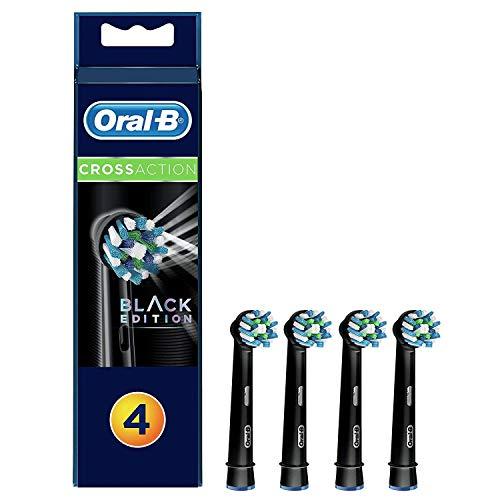 Oral-B CrossAction Testine di Ricambio, Confezione da 4 Pezzi, Edizione Nera, Versione Vecchia