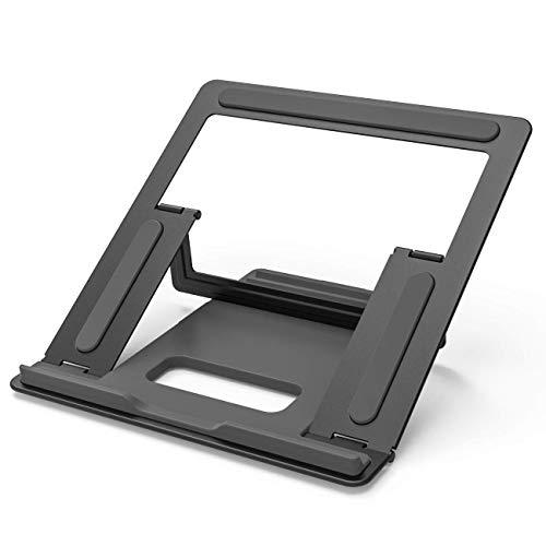 Soporte para computadora portátil, soporte para computadora portátil de escritorio ventilado plegable, soporte ergonómico para computadora compatible con computadora portátil tableta portátil (negro)