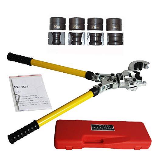 Tenazas de prensado para tuberías TH con mordazas multicapa 16 mm 20 mm 25 mm 32 mm Mordazas de prensado 360 ° cabezal giratorio de contorno, para tubos PEX, tubo compuesto