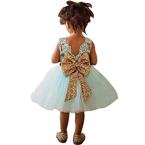 TTYAOVO Vestido de Fiesta de la Princesa del Cordón Lindo Floral de Las Lentejuelas de la Boda del Bautismo sin Mangas del Bowknot de Las Muchachas 6-12 Meses 02 Verde