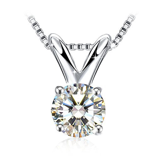 J.Rosée Pendent Necklace with 925 Sterling Silver and 3A Cubic Zirconia, 18''+ 2
