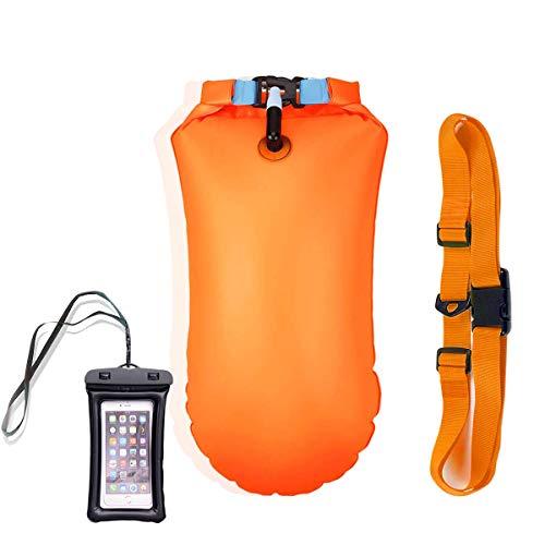 Boya natación, Alta Visibilidad, Bolsa Impermeable Inflable para Swim Buoy Todos los Deportes acuáticos y Nadadores de Agua Abierta, triatletas (Naranja)