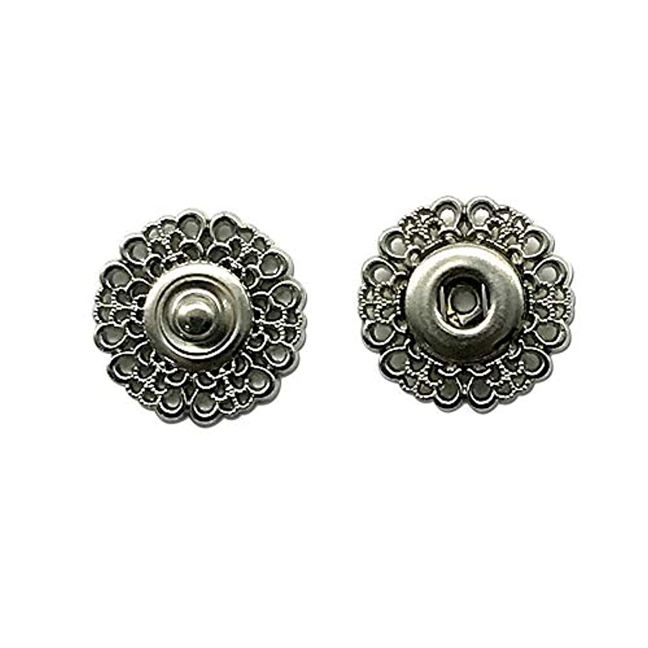 ZQMALL 20pcs Metal Snap Buttons Clasp Buttons Hollow Flower Sewing Press Studs Buttons Coat Buttons, 1 inch,Q1754