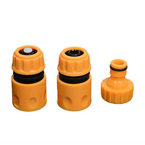 Triamisu 3pcs / Set Juego de Montaje de tubería de Manguera de Agua de jardín Universal Adaptador de Conector de tubería de Manguera de Agua Amarilla Accesorios de jardín - Amarillo