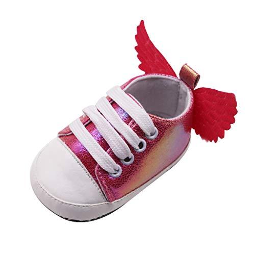 FNKDOR Schuhe Neugeborene Baby Lauflernschuhe Babyschuhe Mädchen Rot 12-15 Monate Bequem rutschfest Mit Sequin Flügel