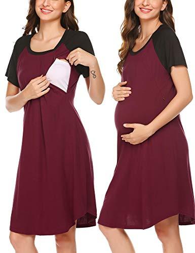 Lucyme Damen Nachthemd Stillnachthemd Schwangerschaft Umstandsnachthemd Kurzarm Schwanger mit Reißverschluss für Schwangere