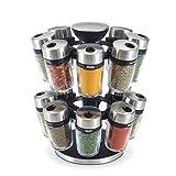 Cole & Mason 16 Jar Herb & Spice Carousel, Medium, Silver