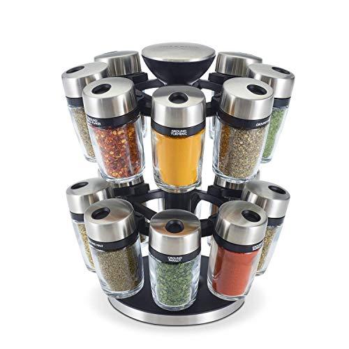 Cole & Mason H121808U 16 Jar Herb & Spice Carousel, Medium, Silver ,10'