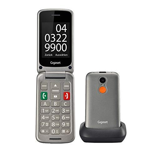 """Gigaset GL590 GSM Handy zum Aufklappen ohne Vertrag (mit komfortabler Ausstattung für Senioren – mit SOS-Notruf-Taste, Farbdisplay 2,8"""" mit extra großer Nummernanzeige) titan-silber"""