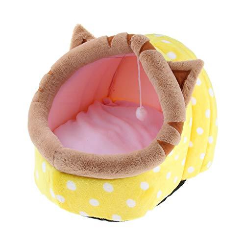 B Blesiya Kuscheliges Katzenbett Hundebett Hundekorb Katzenkorb mit Wackelig Ball für Kleine Hunde, Welpen und Katzen - Gelbe Katze