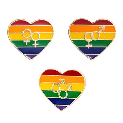 Amosfun 3 Stück Herzförmige Broschen Regenbogen Broschen Anstecknadel LGBT Stolz Homosexuell Lesben Brustnadel für Jeans Schals Hemden