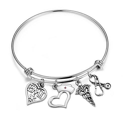 FEELMEM Nurse Bracelet Gifts Caduceus Stethoscope EMT Heart Charm Expandable Wire Bangle Nursing Jewelry Emergency Nurse Gifts(EMT charm)