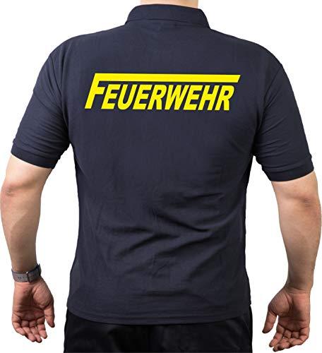 feuer1 'Polo T-Shirt Pompier avec Long Inscription F – neongelber – beidseitiger L Bleu Marine - Bleu Marine