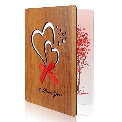 TUPARKA I Love You Card Tarjeta de felicitación de imitación de madera para aniversario, día de San Valentín, cumpleaños, bodas y ocasiones especiales