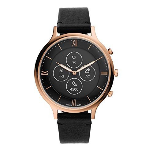 Fossil Women's 42mm Charter Stainless Steel and Silicone Hybrid HR Smart Watch, Color: Rose Gold, Black (Model: FTW7011)