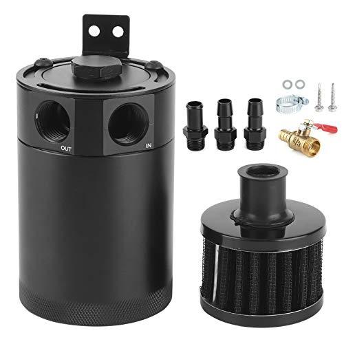 aqxreight - Tanque de aceite colector de aceite negro de 3/8 pulgadas, tanque de aceite tipo deflector de 2 vías con cilindro universal de ventilación de válvula de escape