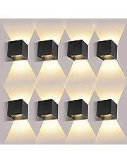 8 Pack LED Wandlamp Binnen / Buiten12W 3000K