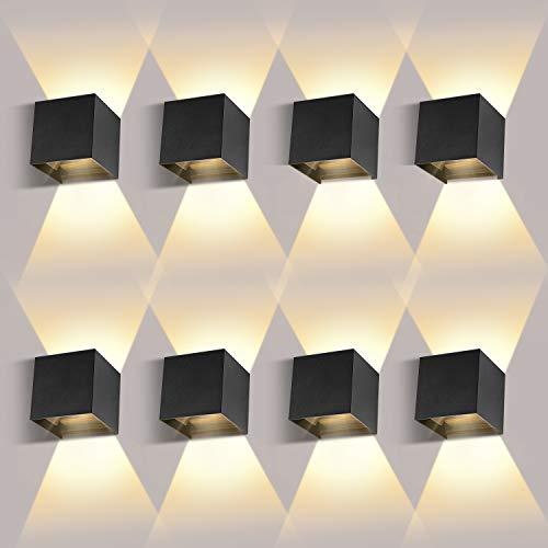 8 Pack 12W LED Wandleuchten Innen/Außen LED Wandlampe Innen Auf und ab Einstellbarer Lichtstrahl 2700-3000K Warmweiß LED Außenwandleuchte IP65 Wasserdichte Wandbeleuchtung Wandleuchte Schwarz