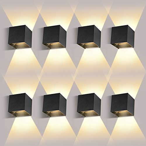 8 * 12W LED Aplique de pared Interior/Exterior LED Aplique de pared arriba y hacia abajo Haz ajustable 2700-3000K Blanco...