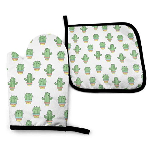 Ameiu-Design Oven Mitts and Pot Holders,Cat Ctus Advanced Heat Resistant Oven Mitts,Non-Slip Textured Grip Potholders for Cooking Grilling Baking