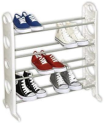 HOME BASICS Sunbeam 12-Pair Shoe Rack, White