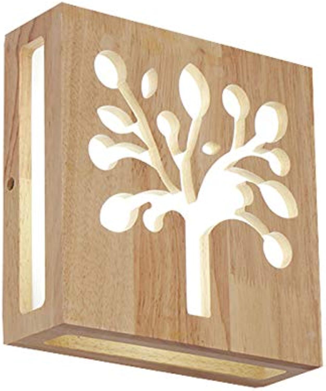 12W Holz-Wandleuchte Innen Led-Wandlampe Moderne Kreativitt Wand-Beleuchtung Wandlichter Innenwand Leuchte für Wohnzimmer Schlafzimmer Flur Gang Warmweies Licht 21  21  7CM