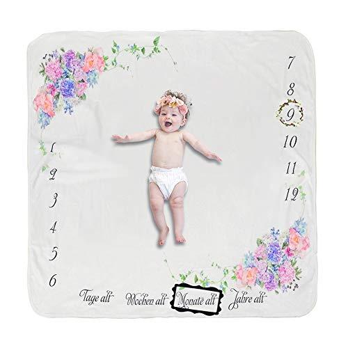 COUXILY Baby Meilenstein Decke Meilensteindecke Baby Monatliche Decke für Neugeborene Baby monatsdecke Milestone Fotografie Requisiten Shoots Hintergrund Tuch Deutsch (Blume 100 * 100CM)