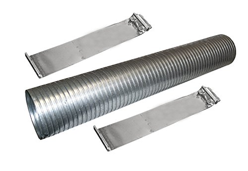 """48"""" Galvanized Flexible Exhaust Tubing 4"""" Diameter Flex Pipe with 2 Band Clamps"""