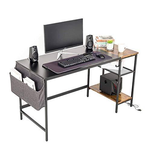 PULUOMIS Holz Schreibtisch Computertisch mit Holzregalen Latop-Tisch Bürotisch Studiertisch Industrie-Design für Home Office Schule, 120x60x75cm (Braun und Schwarz)