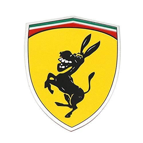 vlandho 1 Stücke Aluminium Kreative Lustige Humor Parodie Streich Aufkleber Für Ferrari Esel Logo Emblem Abzeichen Metall Auto Styling Aufkleber AufkleberLinks