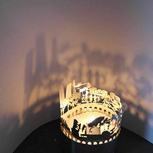 13gramm Miami-Skyline Windlicht Schattenspiel Souvenir, 3D Edelstahl Aufsatz für Kerze inkl. Karte