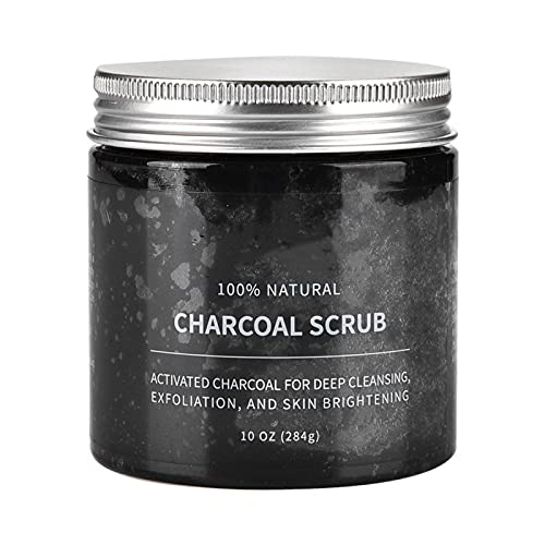 Exfoliante exfoliante de carbón activado natural, sal, cara corporal, eliminación de piel muerta, limpieza profunda para mujeres y hombres