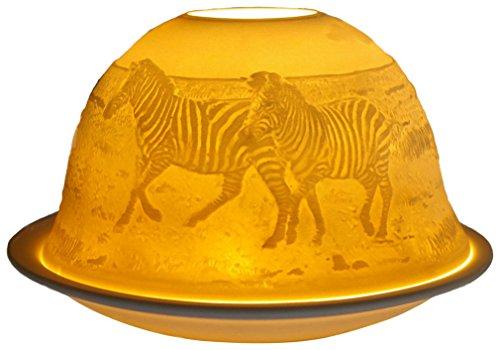 Himmlische Düfte Geschenkartikel GmbH Zebras Windlicht, Porzellan, Weiss, 12x12x8 cm