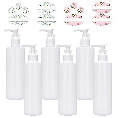 CycleMore 8oz 6 Pack White Plastic Pump Dispenser Bottles, Refillable and Reusable Pump Lotion Dispenser Containers with White Lotion Pumps for Essential Oils, Body Wash, Shampoo and Massage Lotion