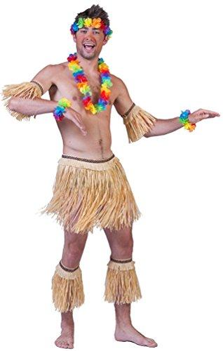 Karneval-Klamotten Kostüm Hawaii Set 5 TLG aus Bast Karneval Sommerparty Herrenkostüm Einheitsgröße