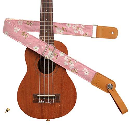 "MUSIC FIRST Original Design Vintage ""Pink Sakura"" Soft Muslin & Genuine Leather Ukulele Strap Ukulele Shoulder Strap With a MUSIC FIRST Genuine Leather Strap Locker"