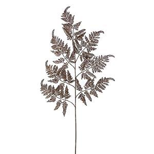 "Silk Flower Arrangements Arcadia Silk Plantation 39"" Leather Fern Spray Bronze (Pack of 12)"
