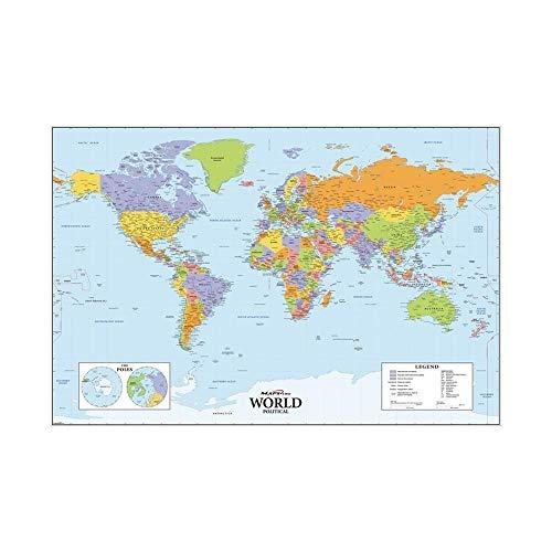 WSF-MAP, 1 STÜCK Die Welt Politische Karte HD World Decoration Map Fine Canvas Spray Malerei für Schule/Büro Wanddekor