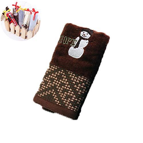 Yahunosu Soft 1PC Extra Suave al bebé recién Nacido de la Cara de Toallas de algodón orgánico Toalla de la Navidad del bebé Natural toallita para bebé (Brown muñeco de Nieve)