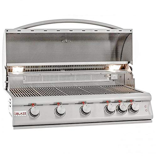 Blaze Premium LTE 40-Inch 5-Burner Built-in Natural Gas Grill with Rear Infrared Burner & Grill Lights - BLZ-5LTE2-NG