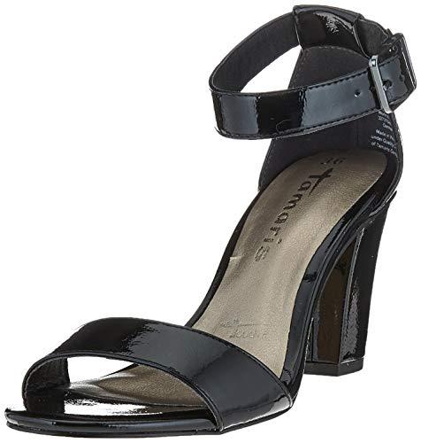 Tamaris 1-1-28018-24, Sandalia con Pulsera Mujer, Negro (Black Patent 018), 37 EU