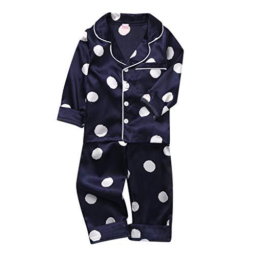 Peuter Jongens Meisjes pyjama Slaapmode Outfits Kids Lange Mouw Dot Tops Shirts & Broeken Pyjama Set Kids Pjs Nachtkleding Kinderen Outfit Katoen 2 Stks Kleding Sets Nachtkleding Kleding voor 1-6 Jaar Oud