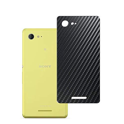 Vaxson 2 Stück Rückseite Schutzfolie, kompatibel mit Sony Xperia E3 D2203 / D2206 / D2243 / D2202 / D2212, Backcover Skin - Carbon Schwarz [nicht Panzerglas/nicht Front Displayschutzfolie]